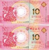 Bancnota Macau 10 Patacas 2018 - PNew UNC (Anul cainelui - 2 bancnote BNU + BoC)