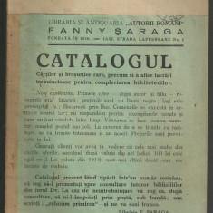 CATALOGUL CARTILOR SI BROSURILOR RARE DIN LIBRARIA SARAGA, IASI - editie 1931