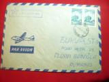 Plic Par Avion Bulgaria cu Antet Esperanto ,francat cu 2x5st 1964