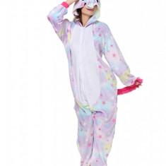 PJM61-59 Pijama intreaga kigurumi, model unicorn cu stelute, L, M/L