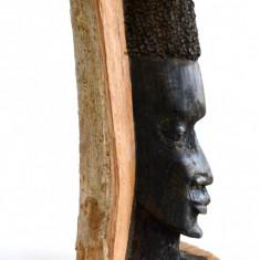 Sculptura in lemn de abanos bust de etnic african - arta africana