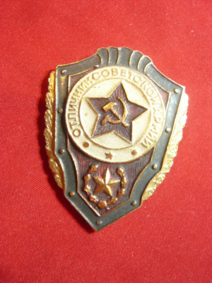 Insigna Militara URSS -Academia Militara -pt. gradatie,metal si email ,h=4,2cm foto
