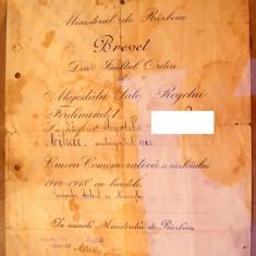 Brevet  Crucea comemorativa a   razboiului   1916-1918  cu   trei  barete