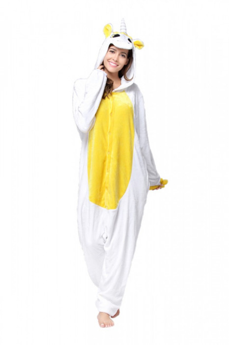 PJM55-29 Pijama intreaga kigurumi, model uncorn alb cu galben