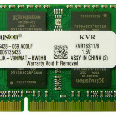 Memorii Laptop Kingston 8GB DDR3 PC3-12800S 1600Mhz