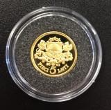 Latvia, 5 lati 2003 comemorativa, aur 1,2442 g, .999, Europa