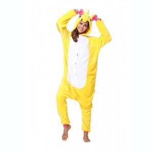 PJM59-292 Pijama intreaga kigurumi, model uncorn galben