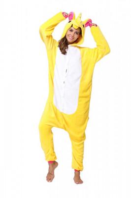 PJM59-292 Pijama intreaga kigurumi, model uncorn galben foto