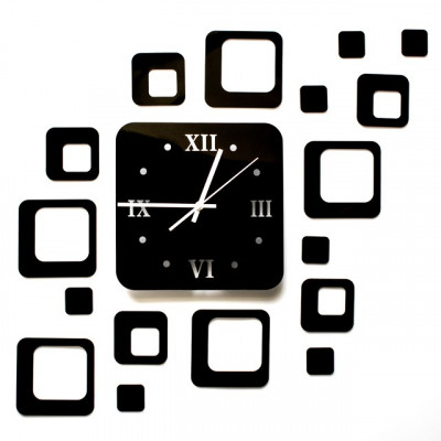 Ceas de perete modern 3D cu efect de oglinda, forma patrat, culoare Negru foto