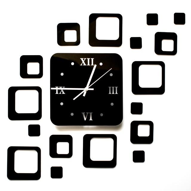 Ceas de perete modern 3D cu efect de oglinda, forma patrat, culoare Negru