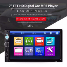 "Radio MP3 MP5 Video Player Auto Display 7"" 2DIN cu Bluetooth USB Card Reader"