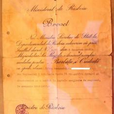 Brevet  Medalia   Barbatie   si  Credinta WW I