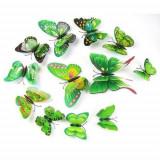 Fluturi 3D magnet, decoratiuni casa sau evenimente, set 12 bucati, verde, A11