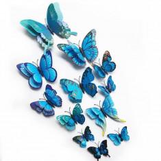 Fluturi 3D magnet, decoratiuni casa sau evenimente, set 12 bucati, albastru, A10