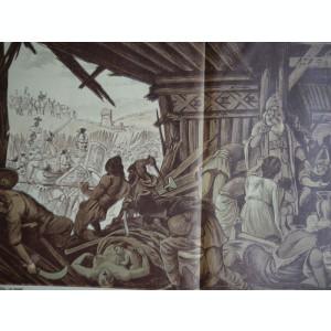 Ziarul Vulturul , nr. 134 din 1909 , cromolitografie mare ; Dacii si romanii