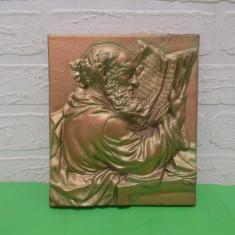 PLACA DECORATIVA metalica  MASIVA , basorelief in tema biblica , TABLOU turnat, Ornamentale