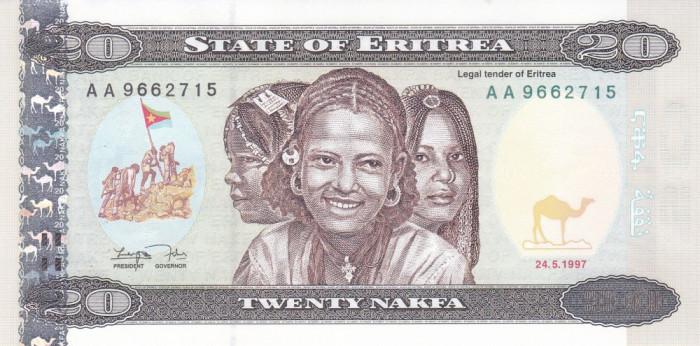 Bancnota Eritrea 20 Nafka 1997 - P4 UNC