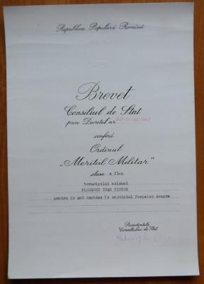 Brevet Meritul Militar cl. 3-a , 1959 si Brevet Meritul Militar cl. 2-a , 1964 foto