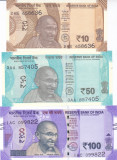 Bancnota India 10, 50 si 100 Rupii 2017-18 - PNew UNC ( seria noua )