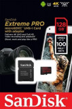 Card de memorie SanDisk Extreme Pro, 128GB, 275 MB/s Citire, 100 MB/s Scriere, Class 10 UHS Speed Class 3 + Adaptor SD
