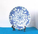 Cumpara ieftin Farfurie portelan japonez blue&white, pictura  Inbante, cca 1880 - marcaj Kutani
