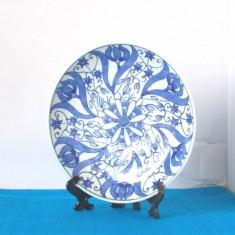 Farfurie portelan japonez blue&white, pictura  Inbante, cca 1880 - marcaj Kutani