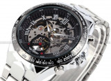 CEAS AUTOMATIC WINNER TM432 STEAMPUNK TACHYMETER SILVER SKELETON-MODEL NOU !!, Casual, Mecanic-Automatic, Inox