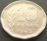 Cumpara ieftin Moneda 10 PESOS - ARGENTINA, anul 1962 *cod 966 - EXCELENTA, America Centrala si de Sud