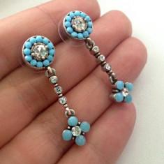Cercei albastrii turcoaz-Placati cu argint TIBETAN vintage si pietre swarovski