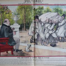 Ziarul Vulturul , nr. 131 din 1909 , cromolitografie  mare ; Mos Ion Roata