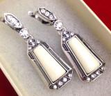 LICHIDARE- Cercei- Placati cu argint TIBETAN vintage,cristale swarovski