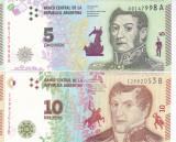 Bancnota Argentina 5 si 10 Pesos (2015) - P359/ 360 UNC ( set x2 )