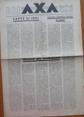 Ziarul Axa , 5 Febr. 1933 , Redactor Mihail Polihroniade  , ziar legionar rar foto