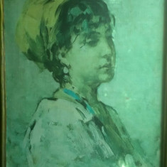 """Tablou Nicolae Grigorescu """"Fata Cu Bazma Galbena"""", Portrete, Ulei, Realism"""
