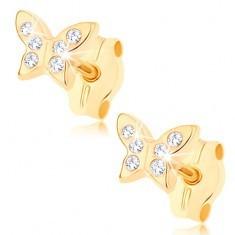 Cercei din aur 375 - fluture strălucitor ornat cu zirconii mici transparente