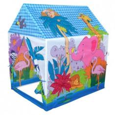 Cort de joaca pentru copii , model casuta, imprimeu jungla, albastru utilizare interior/exterior