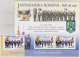 DB Romania 2010 Jandarmeria romana 160 ani serie + colita MNH, Nestampilat