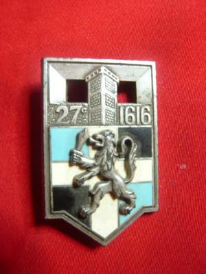 Insigna Militara -Regimentul Infanterie 1616 Romainville ,h=4cm,autor Y.Delsart foto
