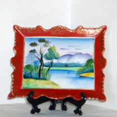 Placheta (aplica) portelan japonez, pictata manual, anii 50 - Peisaj - Meito