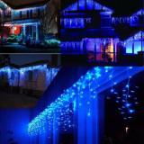 Instalatii 12m perdea franjurata turturi LED Craciun multicolor albastru alb rec