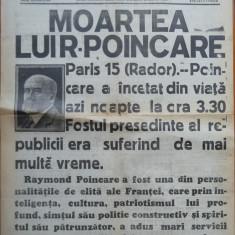 Universul , 15 Oct. 1934 , Moartea lui Poincare , fostul presedinte francez