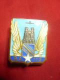 Insigna Militara Baza Aeriana Reims Franta ,d=3,5cm ,metal, email, autor Drago
