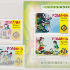 DB Romania 2005 Cercetasii Romaniei serie + bloc de 4 MNH