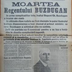 Ziarul Dimineata , editie speciala , 8 Oct. 1929 , Moartea Regentului Buzdugan