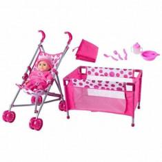 Jucarie Set carucior cu pat pentru bebelusi 91857 Woodyland