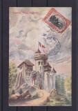 EXPOZITIA NATIONALA 1906  BUCURESTI  CASTELUL TEPES  CIRCULATA 1907  TCV  SOCEC, Printata
