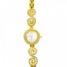 Ceas de dama MBrands casual bratara curea din inox aur auriu, Fashion, Quartz