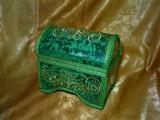 Cutie caseta zestre Nepal, broderie fir auriu, colectie cadou vintage