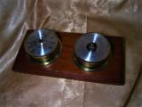 Nautica! Placheta ceas barometru, alama, lemn tek, colectie, cadou
