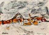 """""""Iarna in Baragan"""" Tablou semnat, Peisaje, Ulei, Impresionism"""